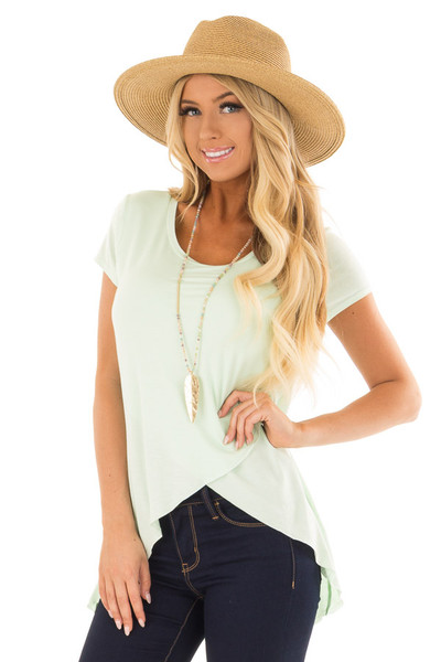 Green Mint Tee Shirt with Layered Crossover Hemline front close up