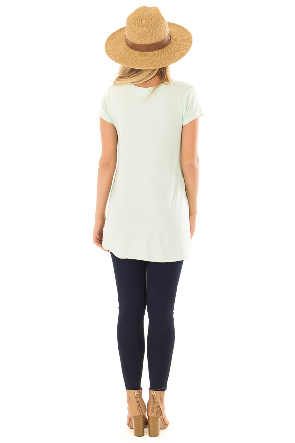 Green Mint Tee Shirt with Layered Crossover Hemline back full body