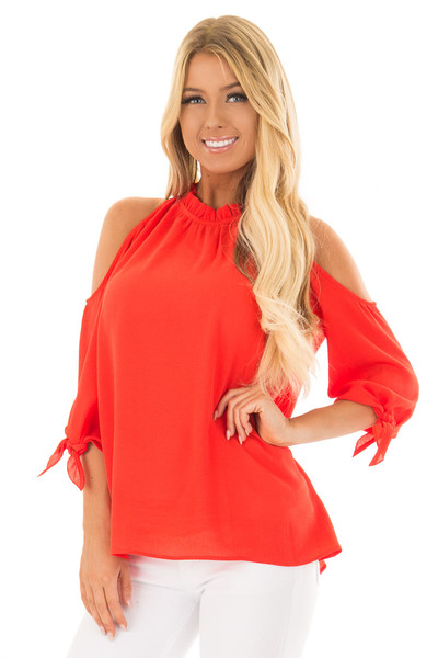 Tomato Red Cold Shoulder Blouse with Tie Sleeves front close up