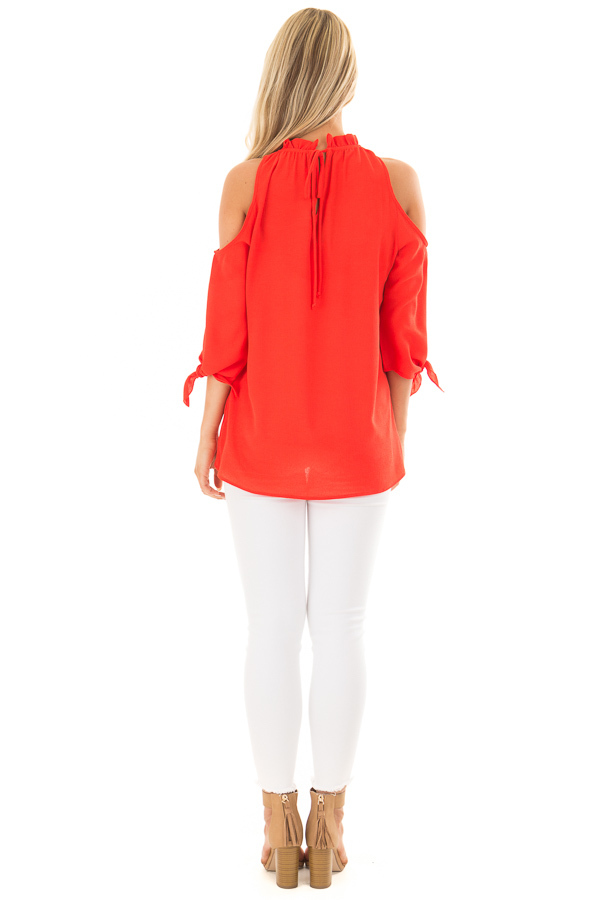 Tomato Red Cold Shoulder Blouse with Tie Sleeves back full body