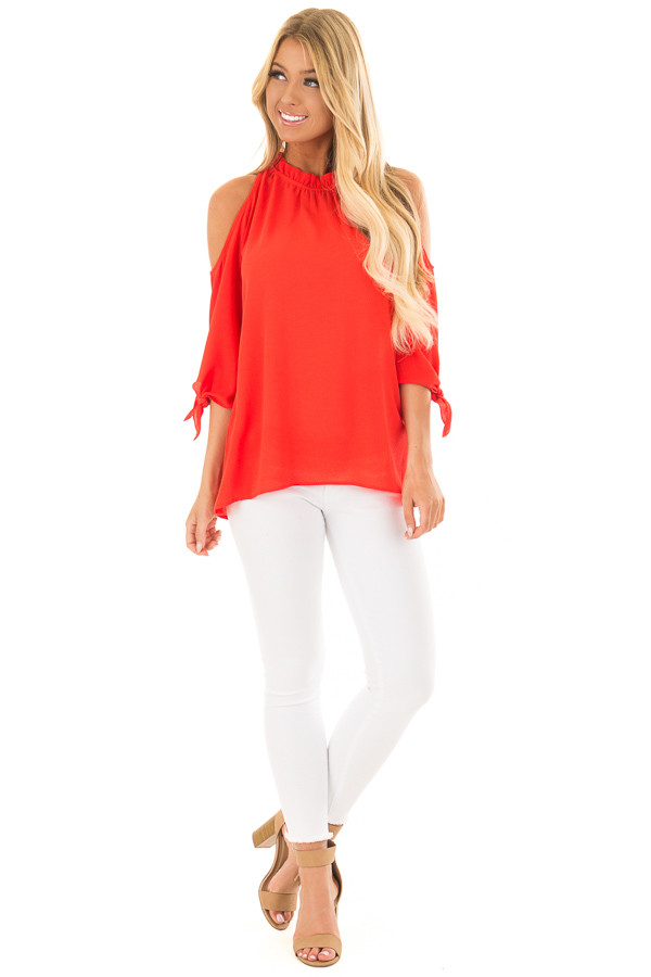 Tomato Red Cold Shoulder Blouse with Tie Sleeves front full body