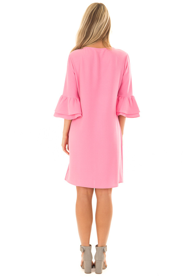Bubble Gum Pink Dress with 3/4 Bell Sleeves back full body