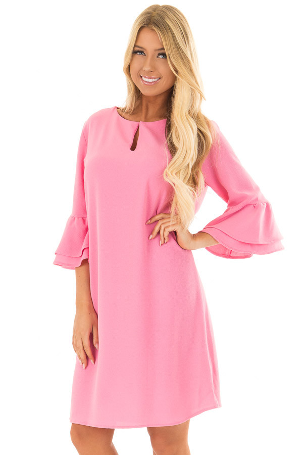 Bubble Gum Pink Dress with 3/4 Bell Sleeves front close up