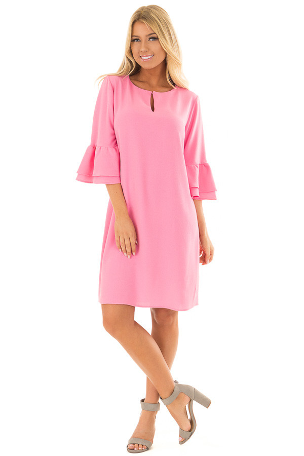 Bubble Gum Pink Dress with 3/4 Bell Sleeves front full body