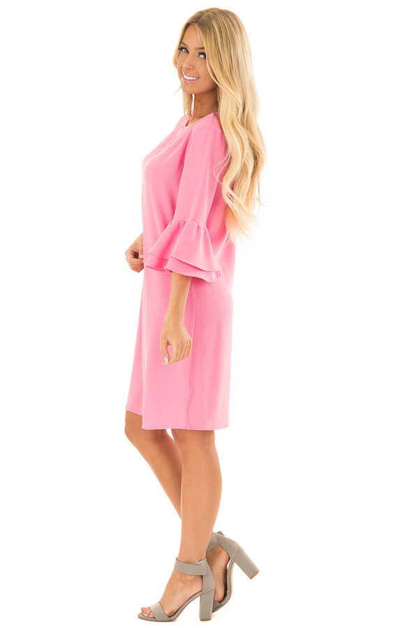 Bubble Gum Pink Dress with 3/4 Bell Sleeves side full body