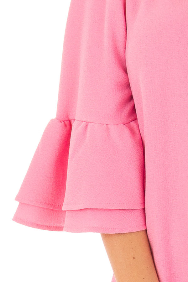 Bubble Gum Pink Dress with 3/4 Bell Sleeves detail