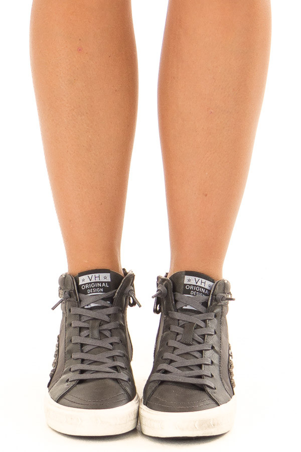 Ash Grey High Top Sneakers with Star Embellishments front view