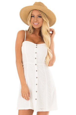White Spaghetti Strap Button Up Dress with Eyelet Detail front close up