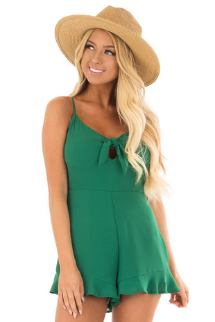 Kelly Green Spaghetti Strap Romper with Front Tie front close up