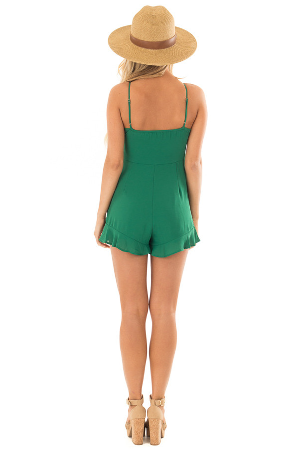 Kelly Green Spaghetti Strap Romper with Front Tie back full body