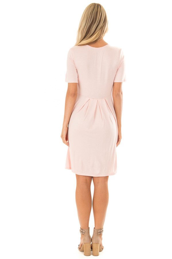 Blush Short Sleeve Dress with Pleated Waist and Side Pockets back full body