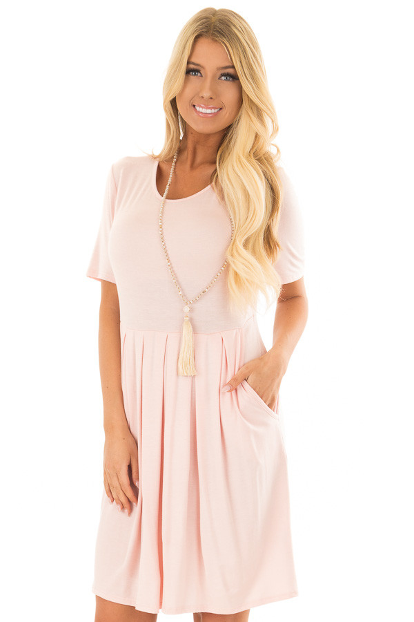 Blush Short Sleeve Dress with Pleated Waist and Side Pockets front close up