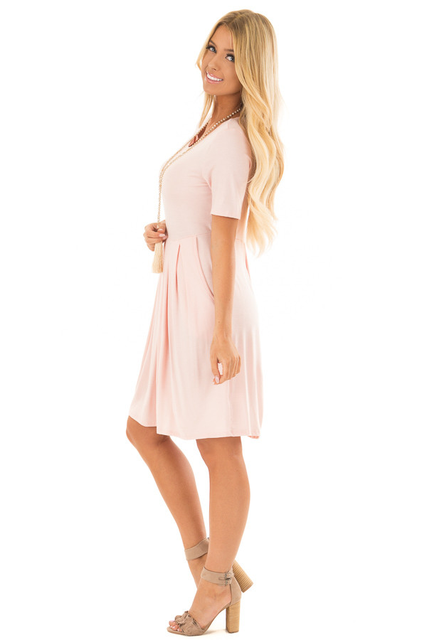 Blush Short Sleeve Dress with Pleated Waist and Side Pockets side full body