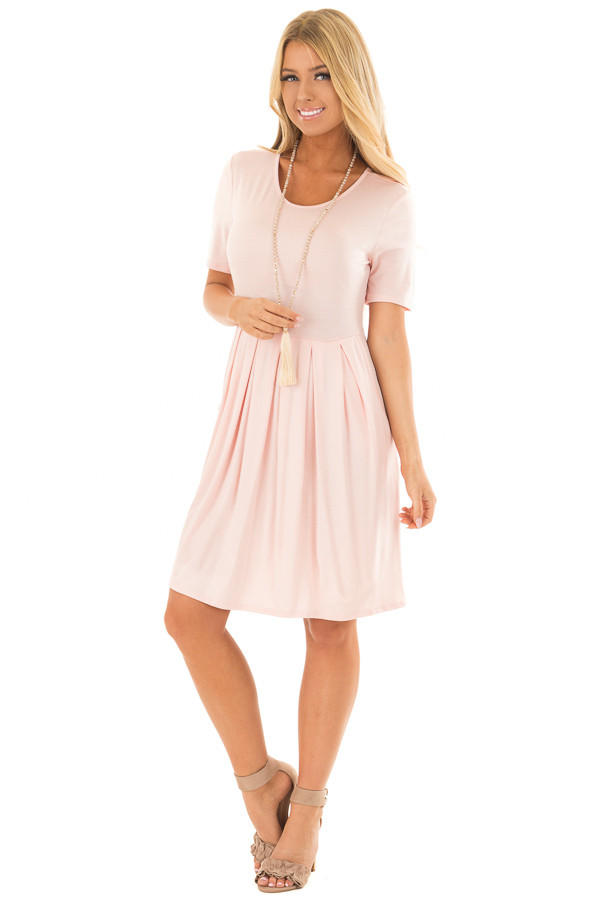Blush Short Sleeve Dress with Pleated Waist and Side Pockets front full body