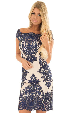 Nude Fitted Dress with Navy Lace Contrast front close up