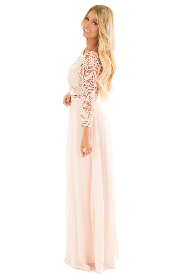 Blush 3/4 Sleeve Lace Top Maxi Dress side full body