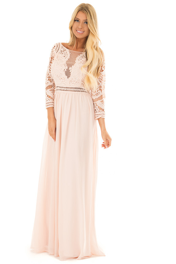 Blush 3/4 Sleeve Lace Top Maxi Dress front full body