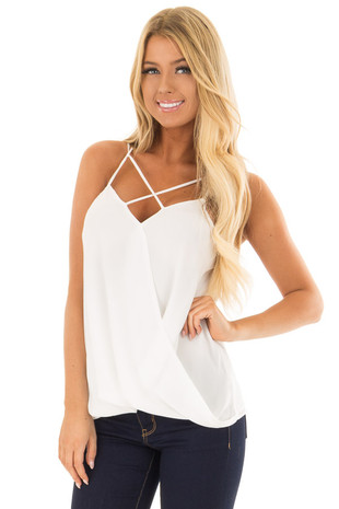 Off White Surplice Top with X Neckline front close up