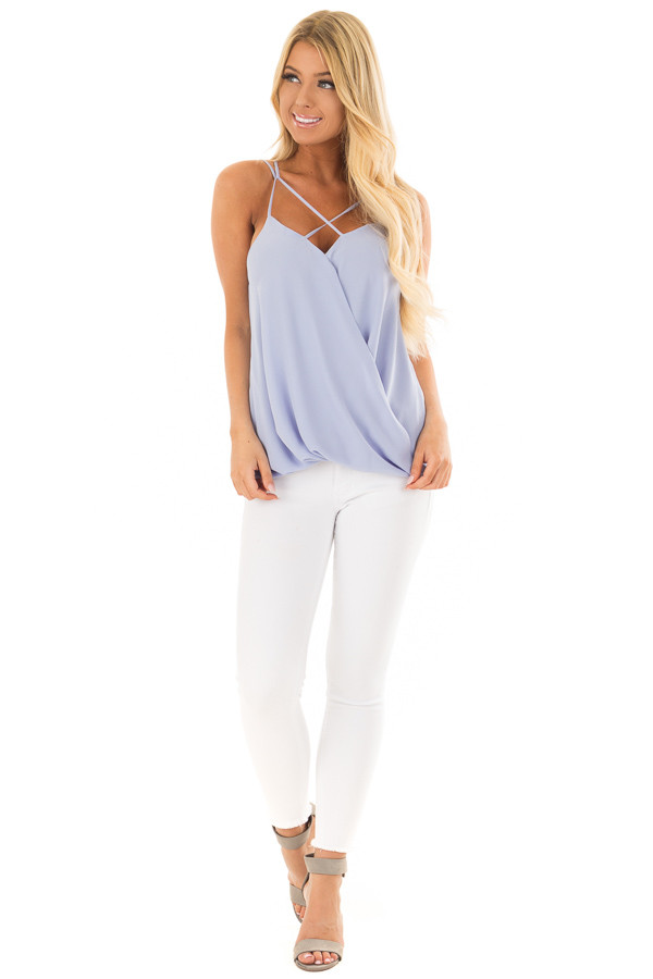 Baby Blue Surplice Top with X Neckline front full body