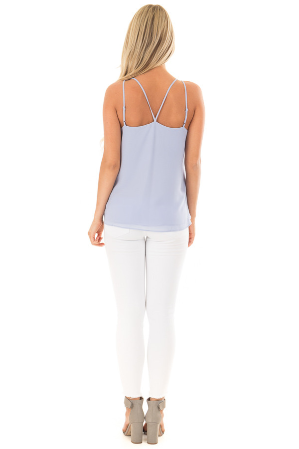 Baby Blue Surplice Top with X Neckline back full body