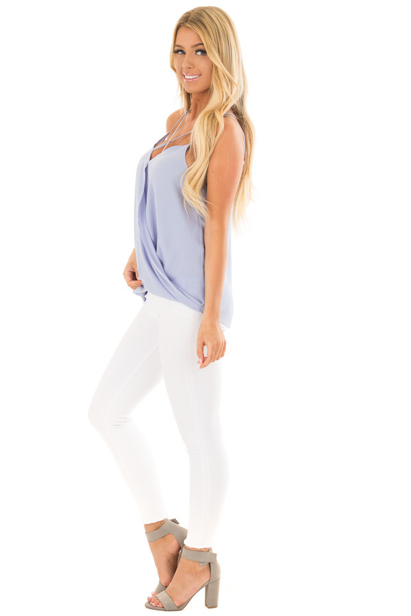 Baby Blue Surplice Top with X Neckline side full body