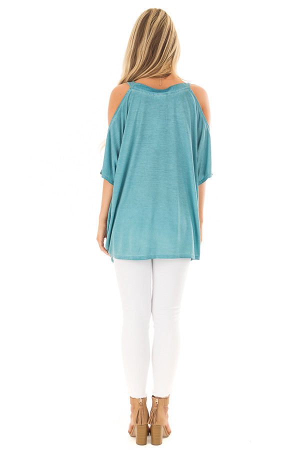 Faded Blue Oversized Cold Shoulder Top back full body
