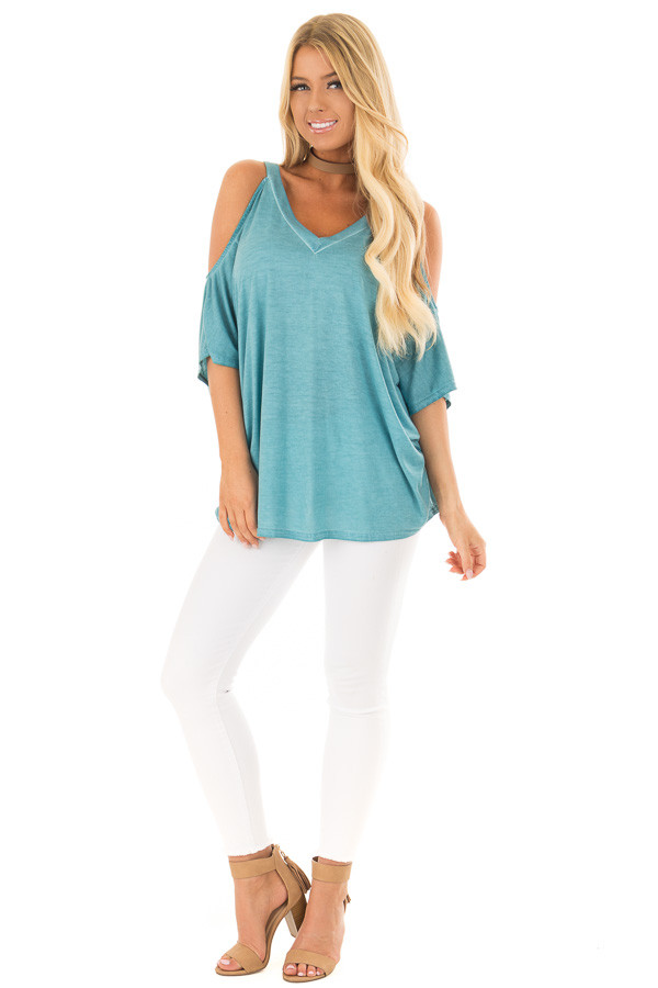 Faded Blue Oversized Cold Shoulder Top front full body