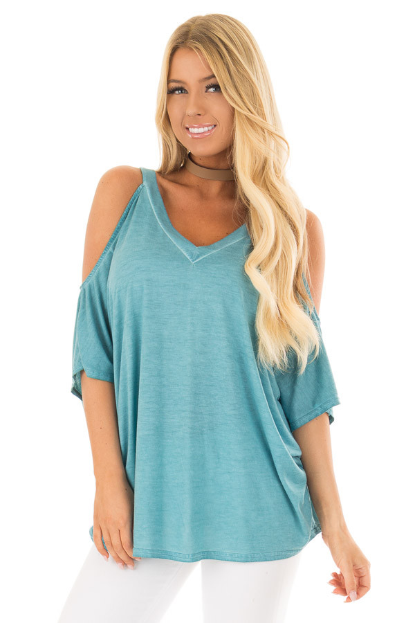 Faded Blue Oversized Cold Shoulder Top front close up