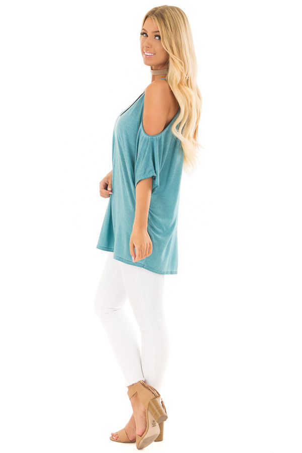 Faded Blue Oversized Cold Shoulder Top side full body