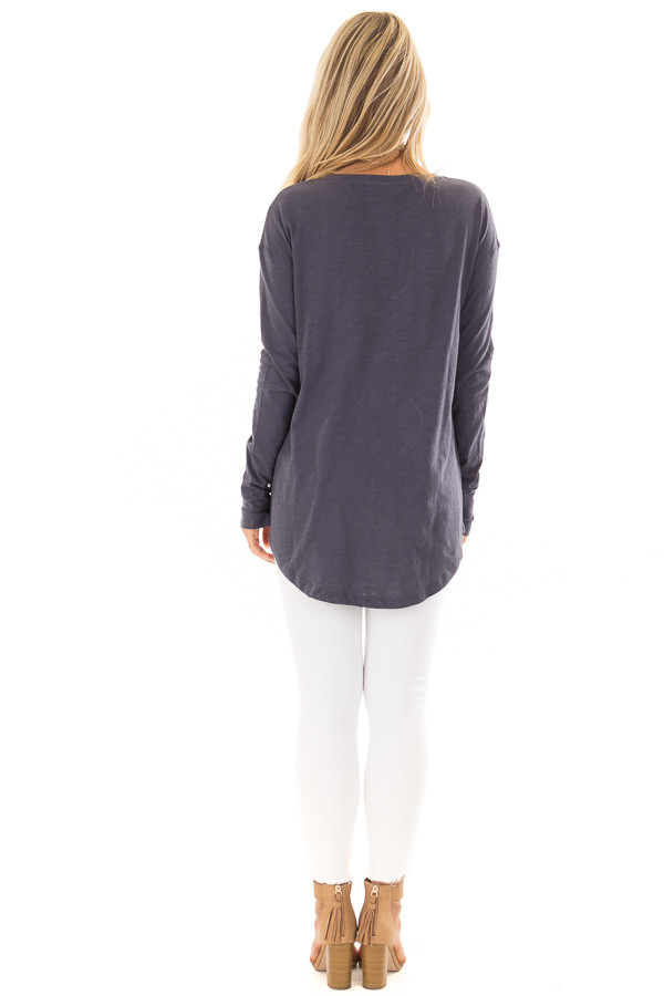 Navy Long Sleeve Top with X Stitched Detail back full body