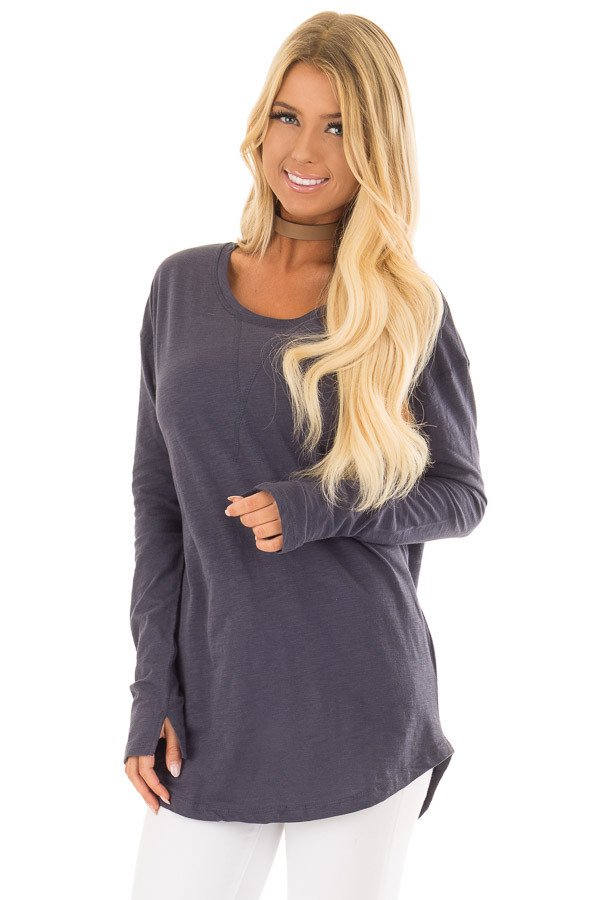 Navy Long Sleeve Top with X Stitched Detail front close up