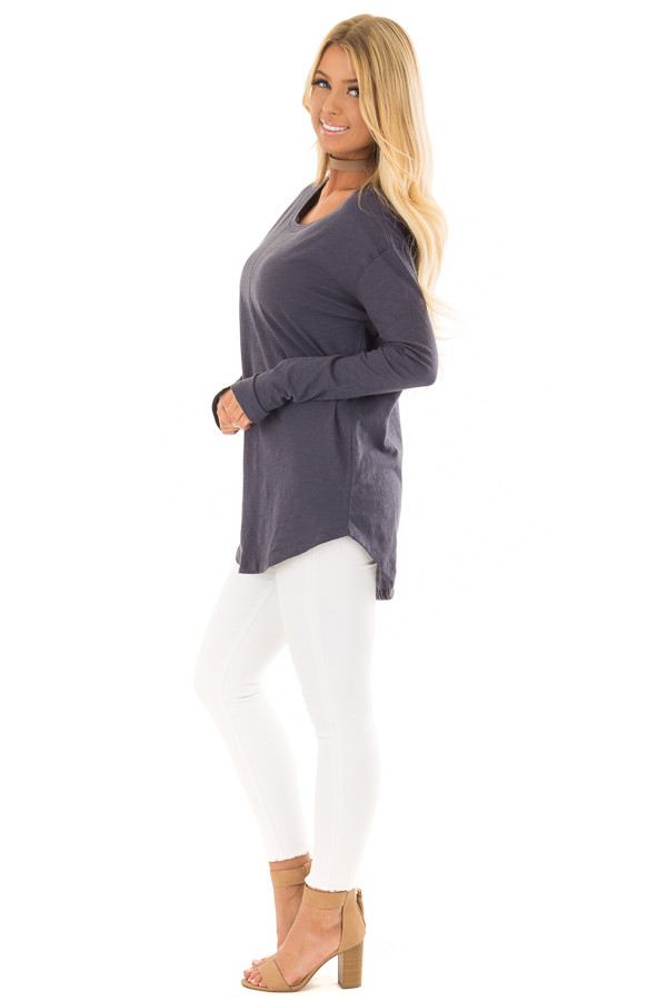 Navy Long Sleeve Top with X Stitched Detail side full body