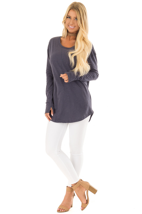 Navy Long Sleeve Top with X Stitched Detail front full body