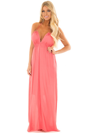 Punch Pink Open Back Maxi Dress front close up