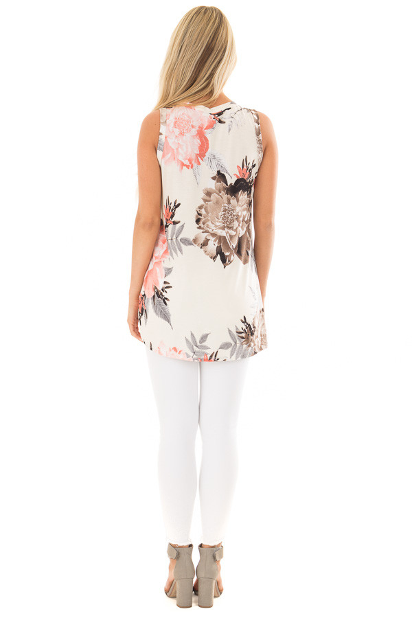 Ivory Floral Print Front Knotted Tank Top back full body