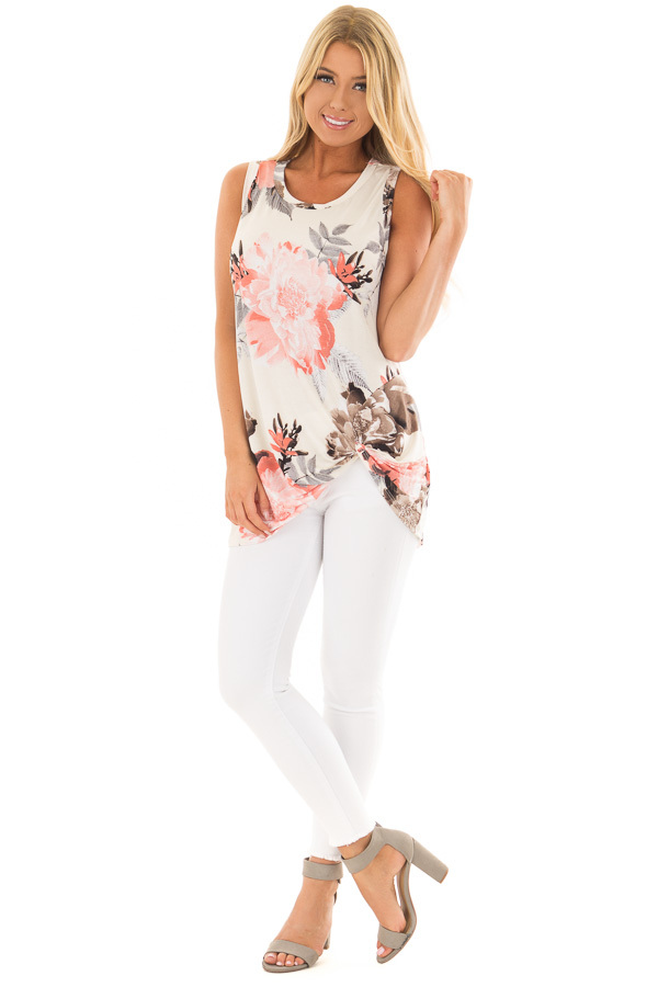 Ivory Floral Print Front Knotted Tank Top front full body