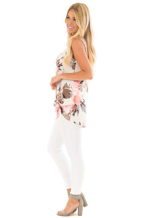 Ivory Floral Print Front Knotted Tank Top side full body