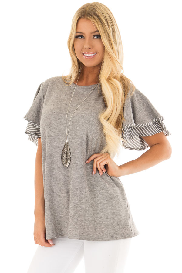 Heather Grey Top with Ruffle and Stripe Sleeve Contrast front close up