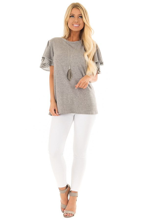 Heather Grey Top with Ruffle and Stripe Sleeve Contrast front full body