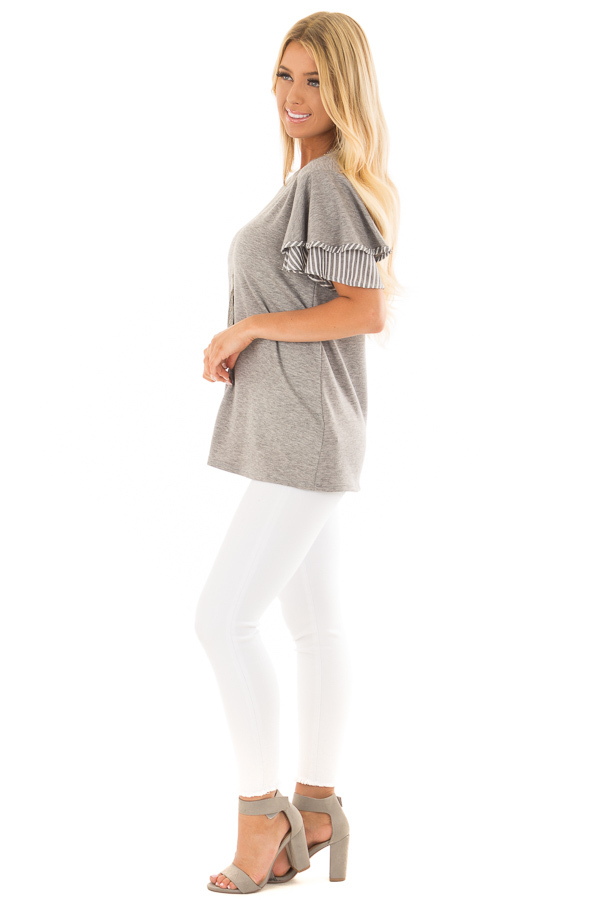Heather Grey Top with Ruffle and Stripe Sleeve Contrast side full body