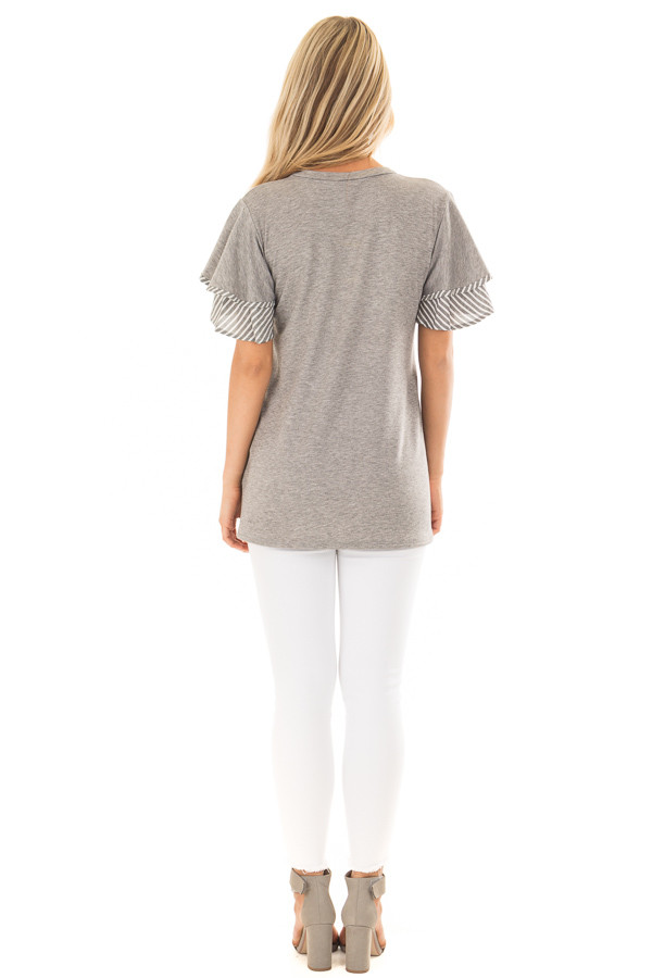 Heather Grey Top with Ruffle and Stripe Sleeve Contrast back full body