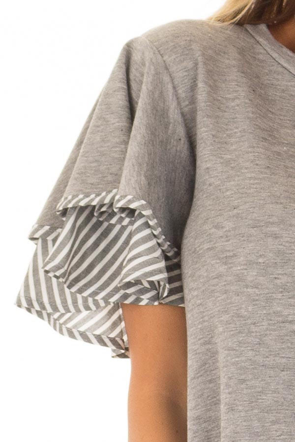 Heather Grey Top with Ruffle and Stripe Sleeve Contrast detail