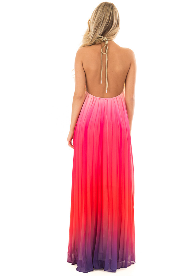 Berry Multi Ombre Halter Maxi Dress back full body