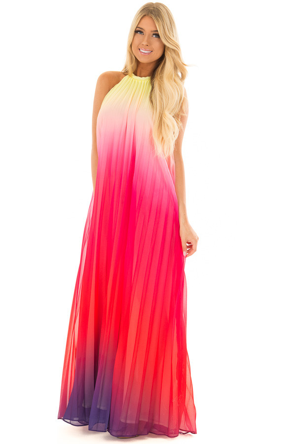 Berry Multi Ombre Halter Maxi Dress front full body