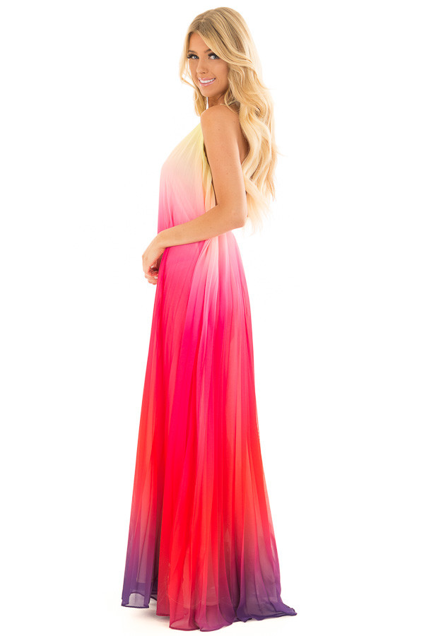 Berry Multi Ombre Halter Maxi Dress side full body