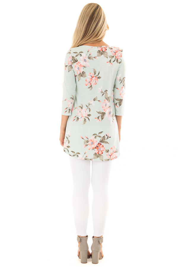 Mint Floral Print 3/4 Sleeve Blouse with X Detail V Neck back full body