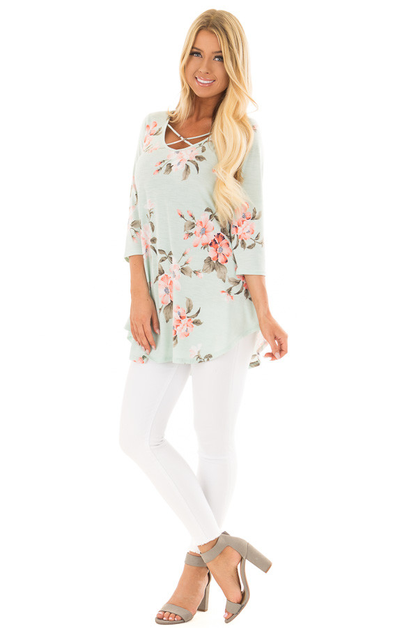 Mint Floral Print 3/4 Sleeve Blouse with X Detail V Neck front full body