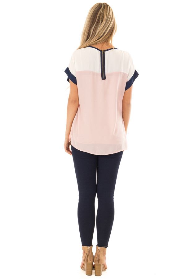 Blush and White Color Block Top with Navy Detail back full body
