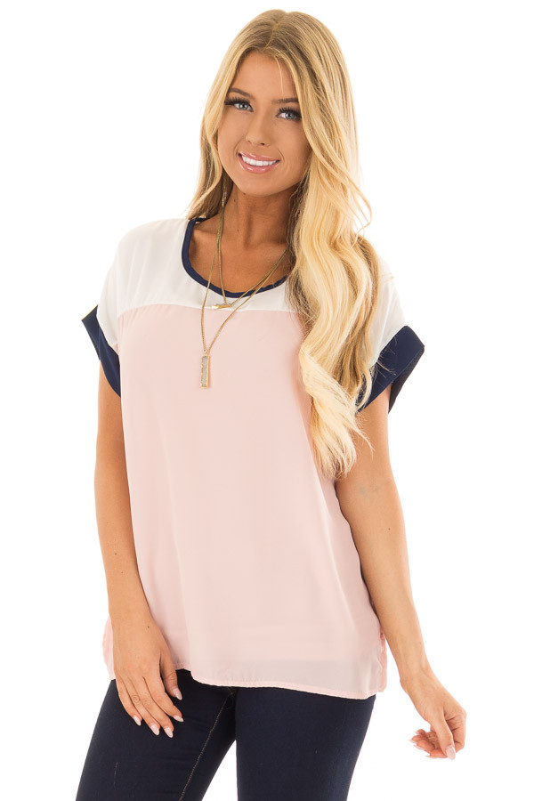 Blush and White Color Block Top with Navy Detail front close up