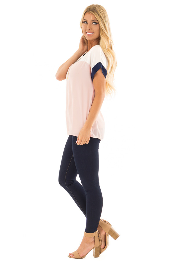 Blush and White Color Block Top with Navy Detail side full body